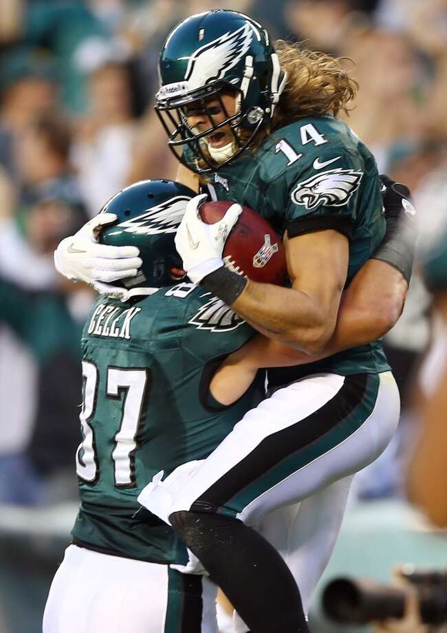 Riley Cooper #14 of the Philadelphia Eagles celebrates his touchdown with teammate  Brent Celek #87 in the first quarter against the Dallas Cowboys on November 11, 2012 at Lincoln Financial Field in Philadelphia, Pennsylvania.  (Photo by Elsa/Getty Images) (Getty Images)