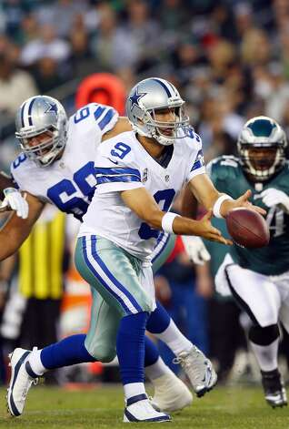 Tony Romo #9 of the Dallas Cowboys flicks the ball back in the first quarter against the Philadelphia Eagles on November 11, 2012 at Lincoln Financial Field in Philadelphia, Pennsylvania.  (Photo by Elsa/Getty Images) (Getty Images)