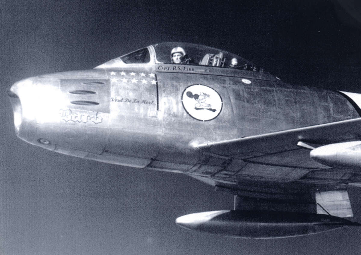 Retired Air Force Col. Ralph Parr flew his F-86 aircraft near Seoul just after the end of the Korean conflict. During the latter part of the war, he shot down 10 aircraft in 30 missions.