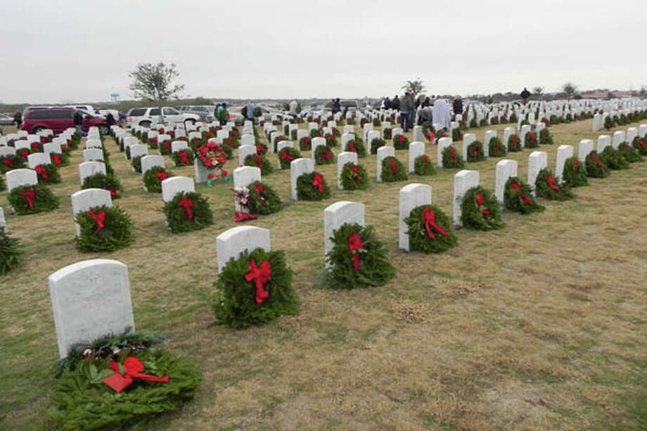 Last year, nearly 7,000 wreaths were placed by headstones at Fort Sam Houston National Cemetery. Photo: Courtesy