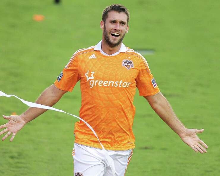 Will Bruin #12 of the Houston Dynamo celebrates his go ahead goal during the second half of a MLS pl