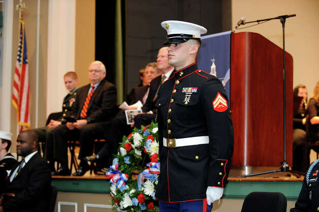 Western Connecticut State University held a Veterans Day ceromony on the downtown campus, Friday, Nov. 9, 2012. Photo: Carol Kaliff / The News-Times
