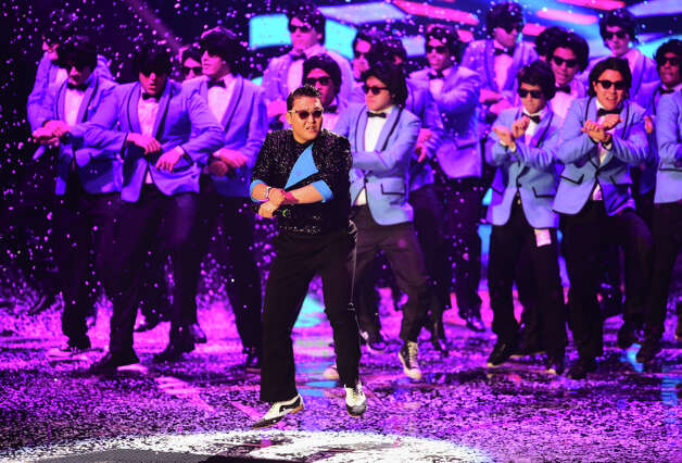 Psy performs 'Gangnam Style' onstage at the MTV EMA's 2012 at Festhalle Frankfurt on November 11, 2012 in Frankfurt am Main, Germany. Photo: Ian Gavan, Getty Images For MTV / 2012 Getty Images