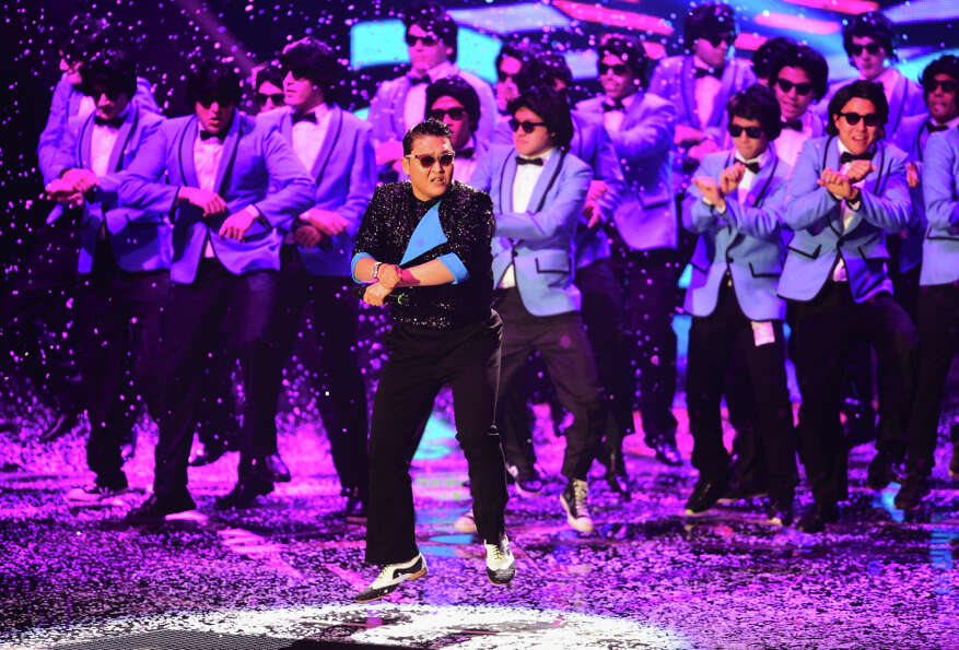Psy performs 'Gangnam Style' onstage at the MTV EMA's 2012 at Festhalle Frankfurt on November 11, 20