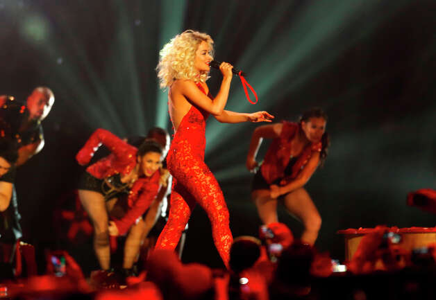 British singer Rita Ora performs during the 2012 MTV European Music Awards show at the Festhalle in Frankfurt, central Germany, Sunday, Nov. 11, 2012. Photo: Michael Probst, Associated Press / AP