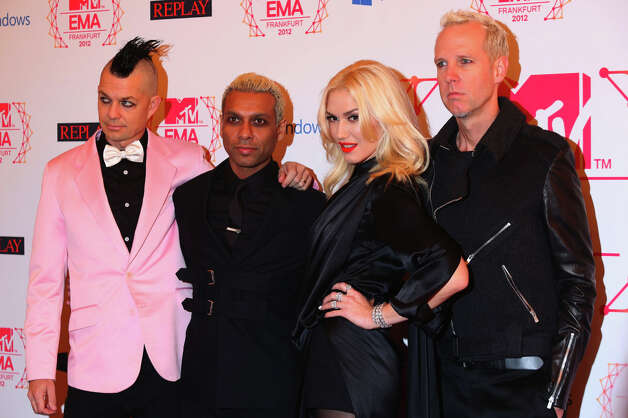 (L-R) Drummer Adrian Young, Bassist Tony Kanal, singer Gwen Stefani and guitarist Tom Dumont of No Doubt attend the MTV EMA's 2012 at Festhalle Frankfurt on November 11, 2012 in Frankfurt am Main, Germany. Photo: Tim Whitby, Getty Images For MTV / 2012 Getty Images