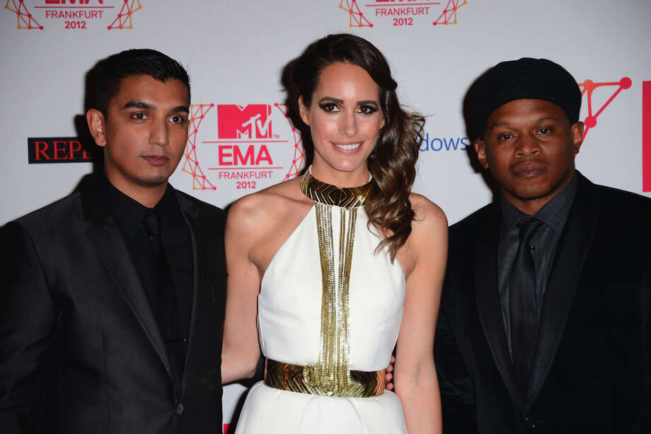 (L-R)Tim Kash, Louise Roe and Sway attend the MTV EMA's 2012 at Festhalle Frankfurt on November 11, 2012 in Frankfurt am Main, Germany. Photo: Ian Gavan, Getty Images For MTV / 2012 Getty Images