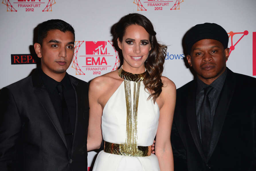 (L-R)Tim Kash, Louise Roe and Sway attend the MTV EMA's 2012 at Festhalle Frankfurt on November 11,