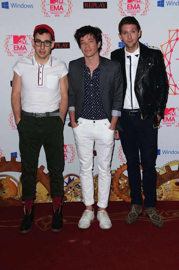 (L-R) Musicians Jack Antonoff, Andrew Dost and Nate Ruess of Fun. attend the MTV EMA's 2012 at Festhalle Frankfurt on November 11, 2012 in Frankfurt am Main, Germany. Photo: Ian Gavan, Getty Images For MTV / 2012 Getty Images