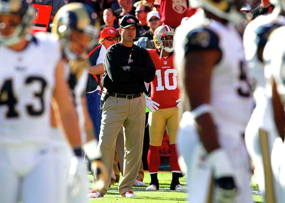 49ers coach Jim Harbaugh during the first quarter of the San Francisco 49ers game against the St. Louis Rams at Candlestick Park in San Francisco, Calif., on Sunday November 11, 2012. Photo: Brant Ward, The Chronicle / ONLINE_YES