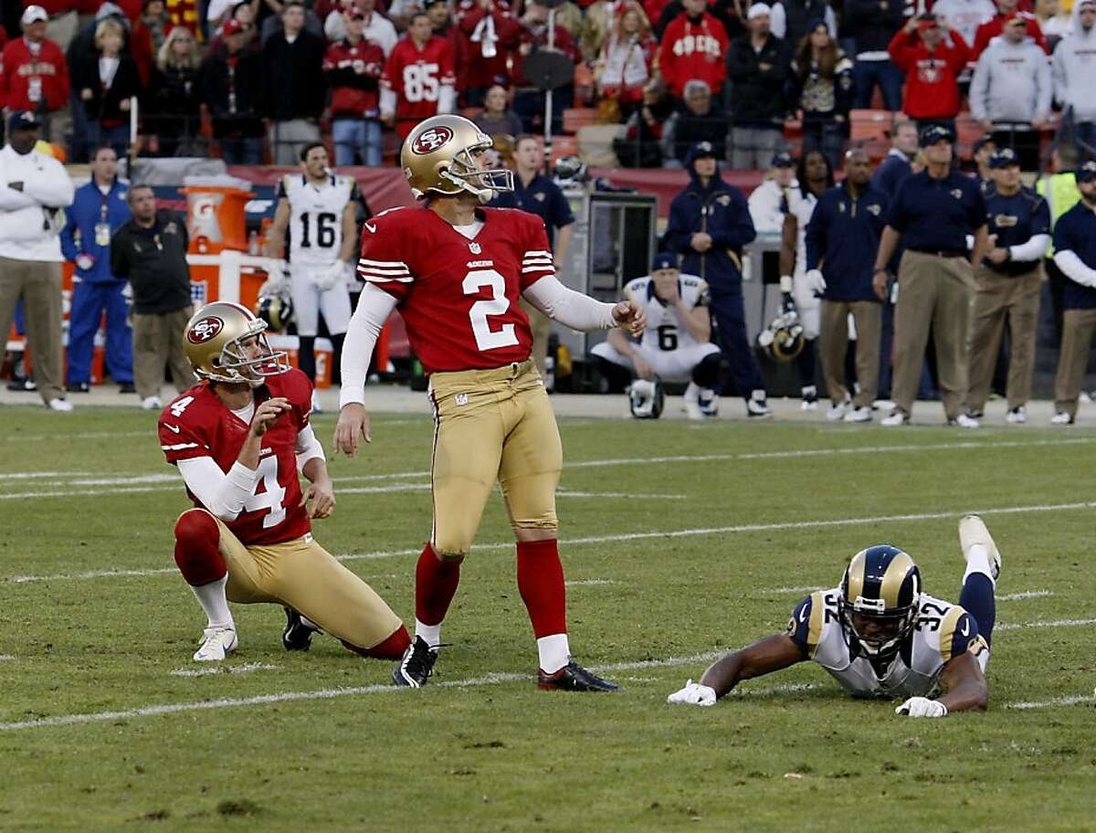 David Akers watches as his field goal attempt in overtime sails wide. The San Francisco 49ers and the Saint Louis Rams played to a 24-24 tie Sunday November 11, 2012.
