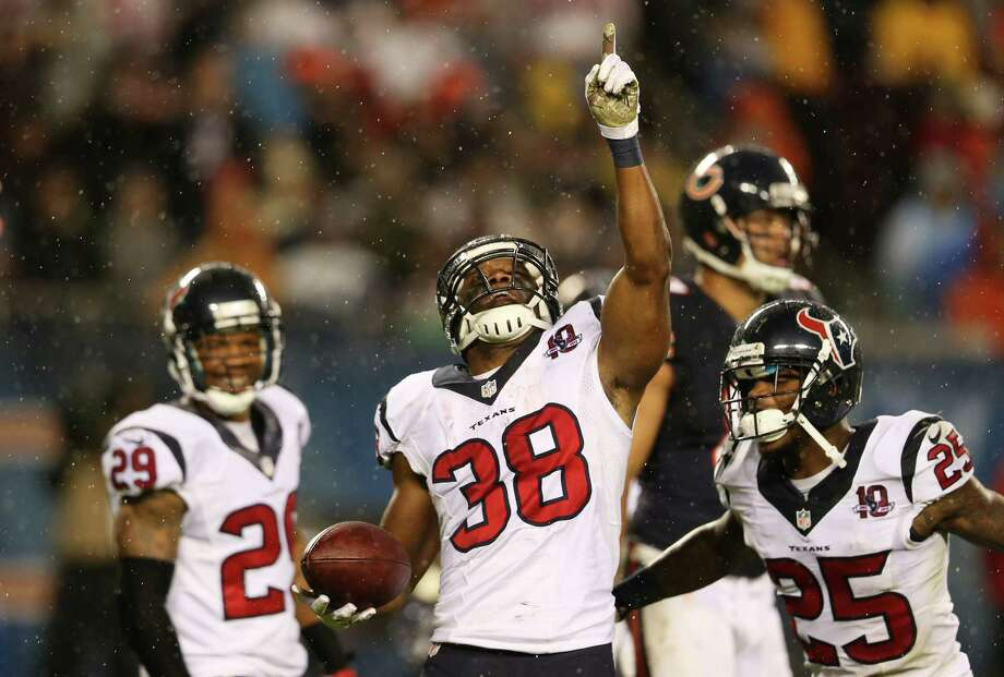 Free safety Danieal Manning #38 of the Houston Texans celebrates after his first quarter interception on a pass thrown by quarterback Jay Cutler #6 of the Chicago Bears during the game at Soldier Field on November 11, 2012 in Chicago, Illinois. Photo: Jonathan Daniel, Getty Images / 2012 Getty Images