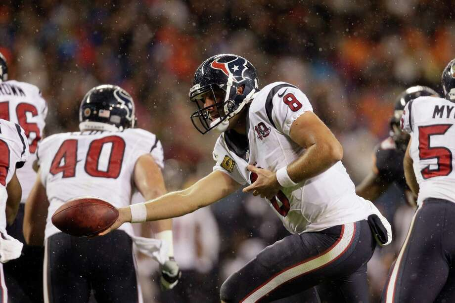Houston Texans quarterback Matt Schaub (8) hands the ball off in the first half an NFL football game against the Chicago Bears in Chicago, Sunday, Nov. 11, 2012. (AP Photo/Nam Y. Huh) Photo: Nam Y. Huh, Associated Press / AP