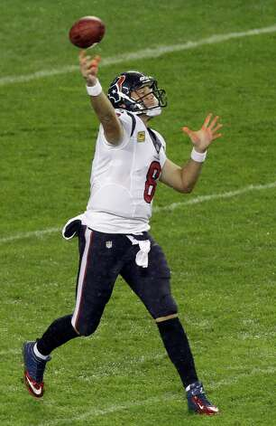 Houston Texans quarterback Matt Schaub (8) passes against the Chicago Bears in the first half an NFL football game in Chicago, Sunday, Nov. 11, 2012. (AP Photo/Kiichiro Sato) Photo: Kiichiro Sato, Associated Press / AP
