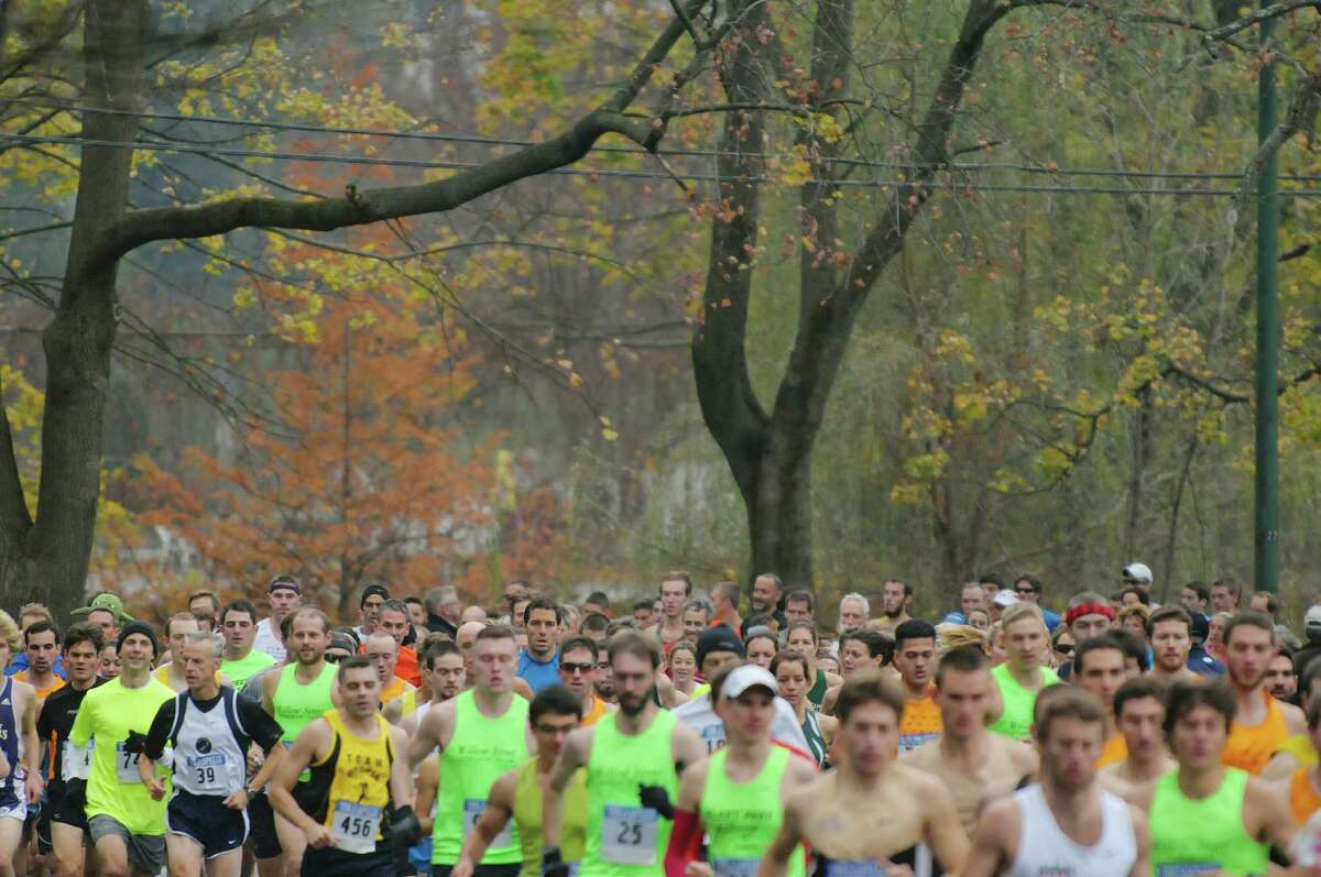 Runners make their way through the course around Central Park during the Stockadeathon on Sunday, Nov. 11, 2012 in Schenectady, NY. (Paul Buckowski / Times Union)