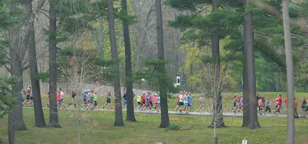 Runners make their way through the course in  Central Park during the Stockadeathon on Sunday, Nov. 11, 2012 in Schenectady, NY.  (Paul Buckowski / Times Union) Photo: Paul Buckowski
