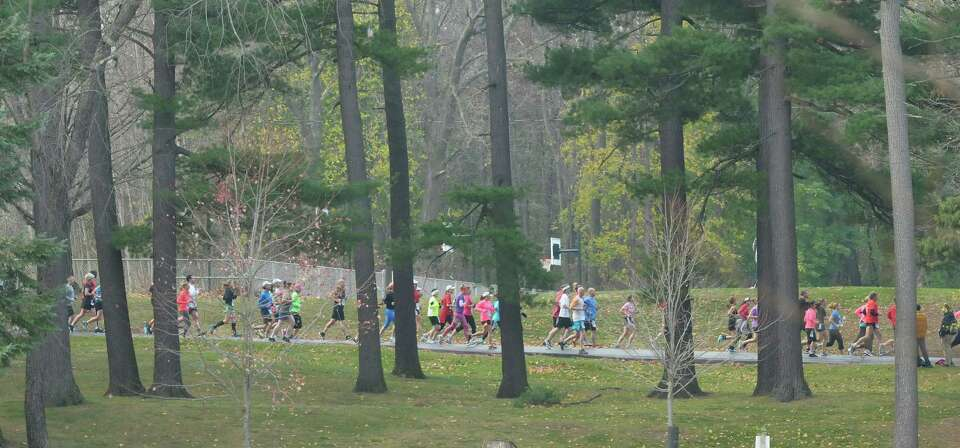 Runners make their way through the course in  Central Park during the Stockadeathon on Sunday, Nov.