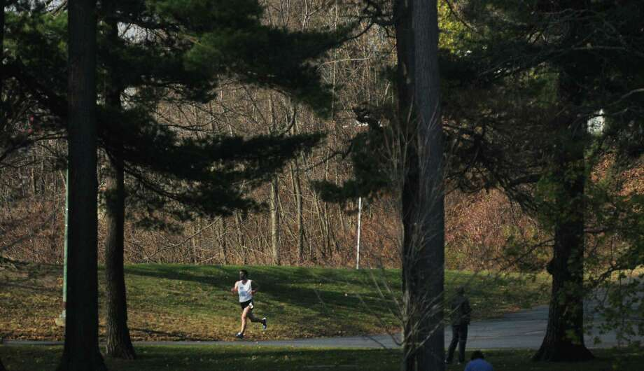Christian Thompson from Elkins Park, PA is all alone as he leads all runners heading back into  Central Park during the Stockadeathon on Sunday, Nov. 11, 2012 in Schenectady, NY.  (Paul Buckowski / Times Union) Photo: Paul Buckowski