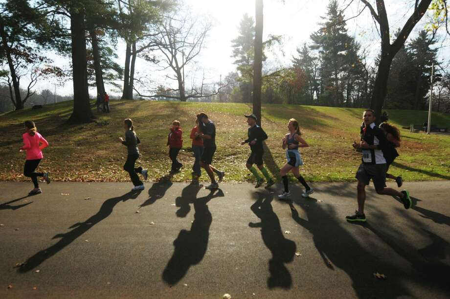 Runners make their way along the course in  Central Park during the Stockadeathon on Sunday, Nov. 11, 2012 in Schenectady, NY.  (Paul Buckowski / Times Union) Photo: Paul Buckowski