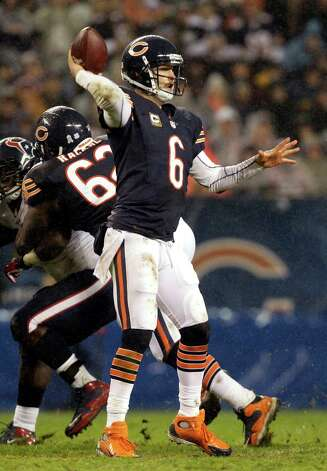 Chicago Bears quarterback Jay Cutler (6) throws a pass that was intercepted by Houston Texans cornerback Kareem Jackson near the end of the first half an NFL football game against the Houston Texans, Sunday, Nov. 11, 2012, in Chicago. (AP Photo/Nam Y. Huh) Photo: Nam Y. Huh, Associated Press / AP