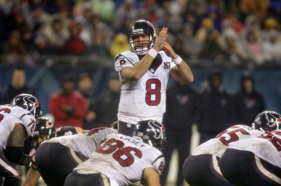 Houston Texans quarterback Matt Schaub (8) calls a timeout in the second half an NFL football game against the Chicago Bears in Chicago, Sunday, Nov. 11, 2012. (AP Photo/Nam Y. Huh) Photo: Nam Y. Huh, Associated Press / AP