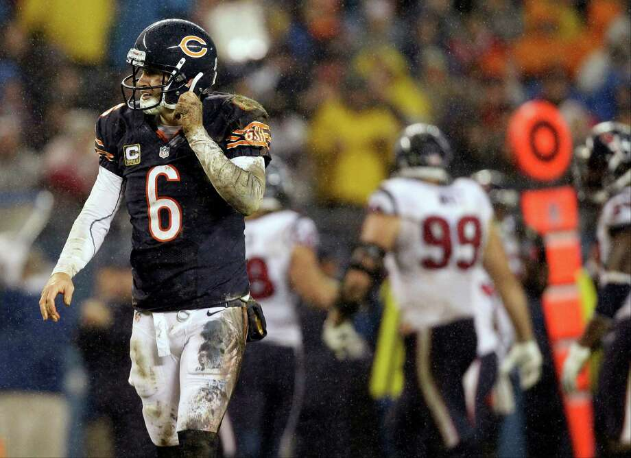 Chicago Bears quarterback Jay Cutler (6) walks off the field after a play against the Houston Texans in the first half an NFL football game in Chicago, Sunday, Nov. 11, 2012. (AP Photo/Nam Y. Huh) Photo: Nam Y. Huh, Associated Press / AP
