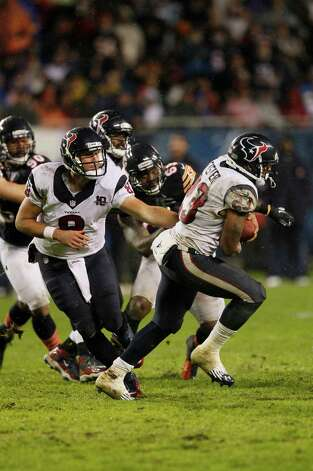 Houston Texans quarterback Matt Schaub (8) hands off to running back Arian Foster (23) in the first half an NFL football game against the Chicago Bears in Chicago, Sunday, Nov. 11, 2012. (AP Photo/Charles Rex Arbogast) Photo: Charles Rex Arbogast, Associated Press / AP