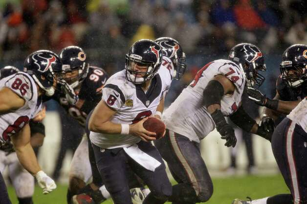 Houston Texans quarterback Matt Schaub (8) prepares to hand the ball off in the second half an NFL football game against the Chicago Bears in Chicago, Sunday, Nov. 11, 2012. (AP Photo/Nam Y. Huh) Photo: Nam Y. Huh, Associated Press / AP
