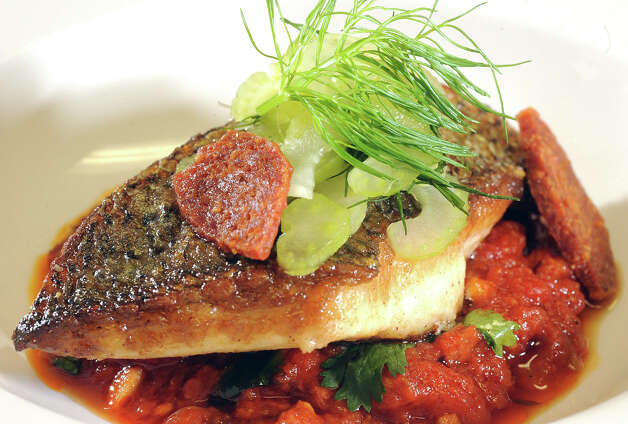 Tiffany Derry's crispy striped bass. Pepperoni stew, shaved fennel and coriander.   Photo taken Friday, November 9, 2012 Guiseppe Barranco/The Enterprise Photo: Guiseppe Barranco, STAFF PHOTOGRAPHER / The Beaumont Enterprise
