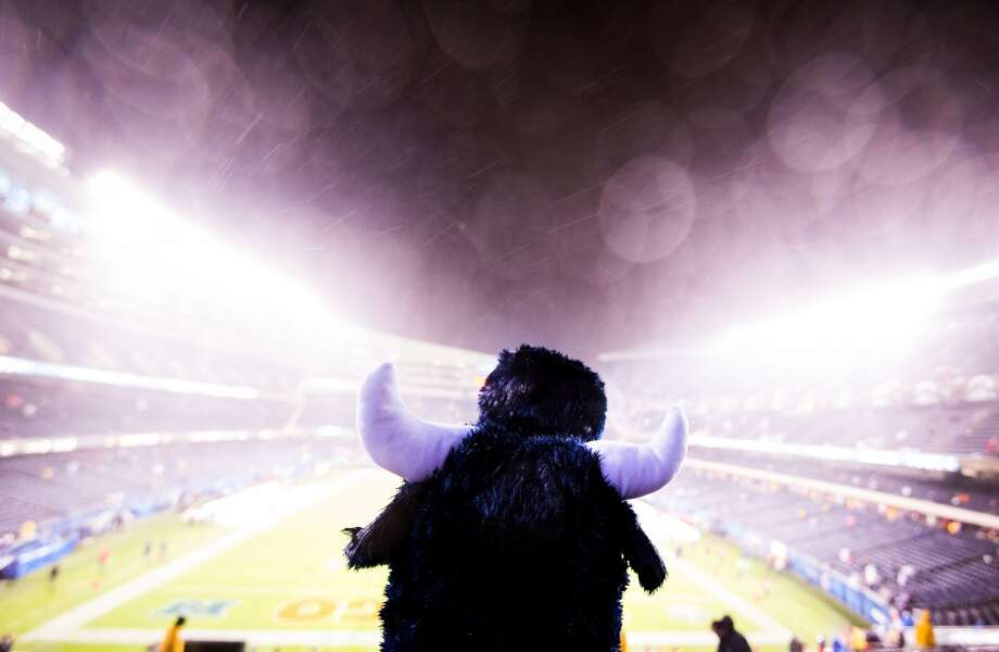 Texans fan Lori Zamarripa of Houston wears a Texans bull hat as she sits in the rain watching the teams warm up at Soldier Field. (Smiley N. Pool / Houston Chronicle)