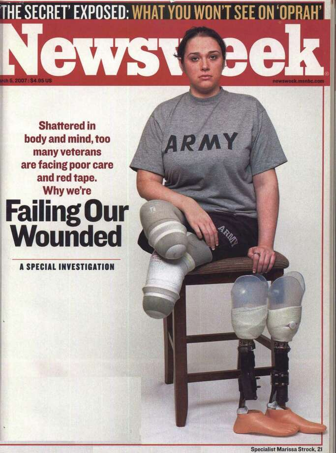 "Army specialist Marissa Strock on the cover of the March 5, 2007 issue of Newsweek. The issue featured the investigative report, ""Failing our Wounded."" Strock lost both legs to an IED explosion in Iraq. Courtesy of Newsweek Archives."
