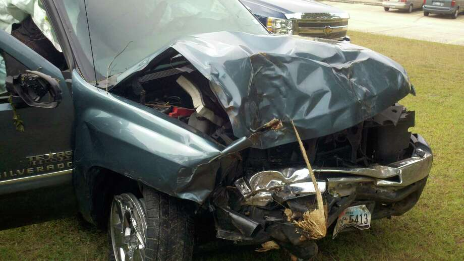 Chance Hillin was traveling in the early hours of the morning recently when this accident happened. He swerved off the road to avoid hitting a deer, a perfectly natural instinct, but not a safe one. He suffered only minor injuries. Photo: Submission
