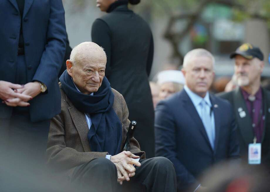 NEW YORK, NY - NOVEMBER 11:  Former Mayor Ed Koch takes part in The Wreath Laying Ceremony during the Veteran's Day Parade on November 11, 2012 in New York City. Mayor Koch is the grand marshal for the parade, which expects to draw thousands of spectators and is the commemoration of the 50th anniversary of the start of the Vietnam War. Photo: Michael Loccisano, Getty Images / 2012 Getty Images