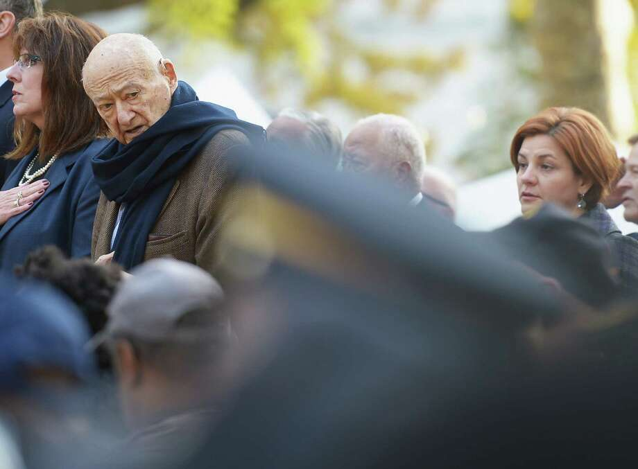 NEW YORK, NY - NOVEMBER 11:  Former Mayor Ed Koch (L) and City Council Speaker Christine C. Quinn attend The Wreath Laying Ceremony during the Veteran's Day Parade on November 11, 2012 in New York City. Mayor Koch is the grand marshal for the parade, which expects to draw thousands of spectators and is the commemoration of the 50th anniversary of the start of the Vietnam War. Photo: Michael Loccisano, Getty Images / 2012 Getty Images