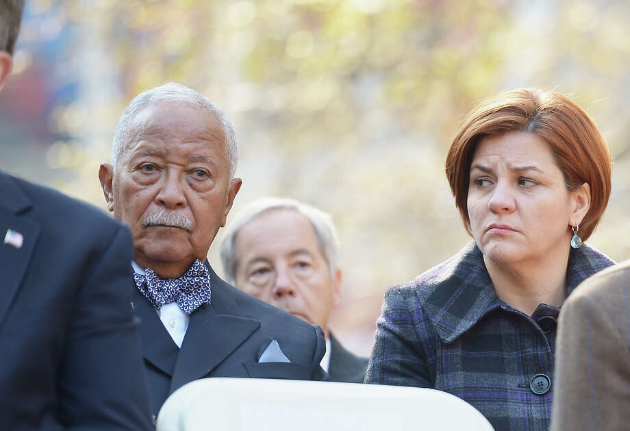 NEW YORK, NY - NOVEMBER 11:  Former Mayor David Dinkins and City Council Speaker Christine C. Quinn attend The Wreath Laying Ceremony during the Veteran's Day Parade on November 11, 2012 in New York City. Former Mayor Ed Koch is the grand marshal for the parade, which expects to draw thousands of spectators and is the commemoration of the 50th anniversary of the start of the Vietnam War. Photo: Michael Loccisano, Getty Images / 2012 Getty Images