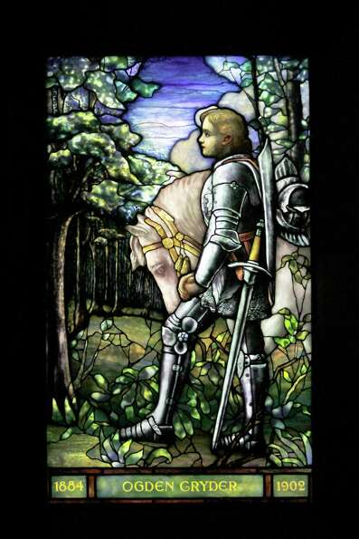 In this Thursday, Oct. 25 2012 photo, Sir Galahad, Cryder Memorial Window, from St. Andrew'