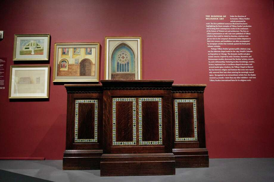 "In this Thursday, Oct. 25 2012 photo, the Pulpit from South Presbyterian Church, Syracuse, N.Y., 1907, is on display at the ""Louis C. Tiffany and the Art of Devotion"" exhibit at the Museum of Biblical Art in New York. Photo: Mary Altaffer, AP / AP"