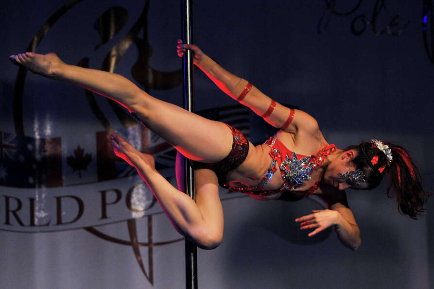 A competitor participate at the World Pole Dancing Championship 2012 held at the Volkshaus on Nov