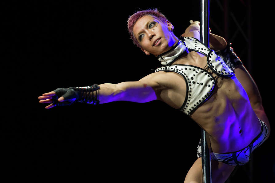 A competitor participates at the World Pole Dancing Championship 2012 held at the Volkshaus on Novem
