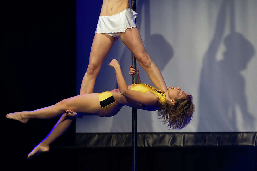 Competitors participate at the World Pole Dancing Championship 2012 held at the Volkshaus on Novembe