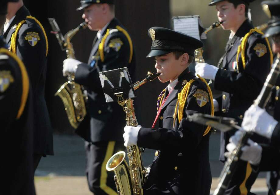 Members of the Christian Brothers Academy marching band perform as they head down Central Avenue in the Albany Veterans Day Parade on Monday, Nov. 12, 2012 in Albany, NY.   (Paul Buckowski / Times Union) Photo: Paul Buckowski