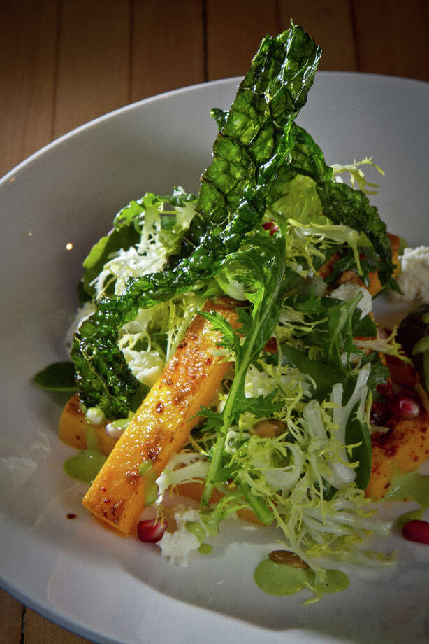 """The menu is standard California fare - oysters, heirloom tomato salad, roasted bone marrow, roast chicken, braised lamb shank - but most dishes have enough of a twist to keep them interesting."" Pictured: The roasted butternut squash and kale salad. Photo: John Storey, Special To The Chronicle / John Storey"