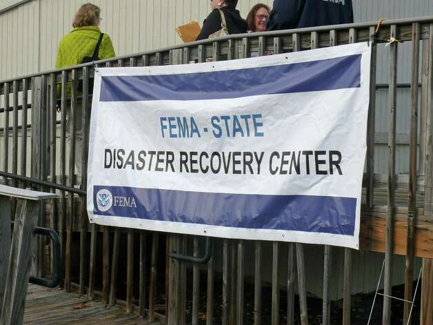 Residents were lined up Monday at the temporary FEMA Disaster Recovery Command Center located at the Public Health Nurses' building behind the Senior Center, 100 Mona Terrace. Fairfield, CT 11/12/12. Photo: Genevieve Reilly / Fairfield Citizen