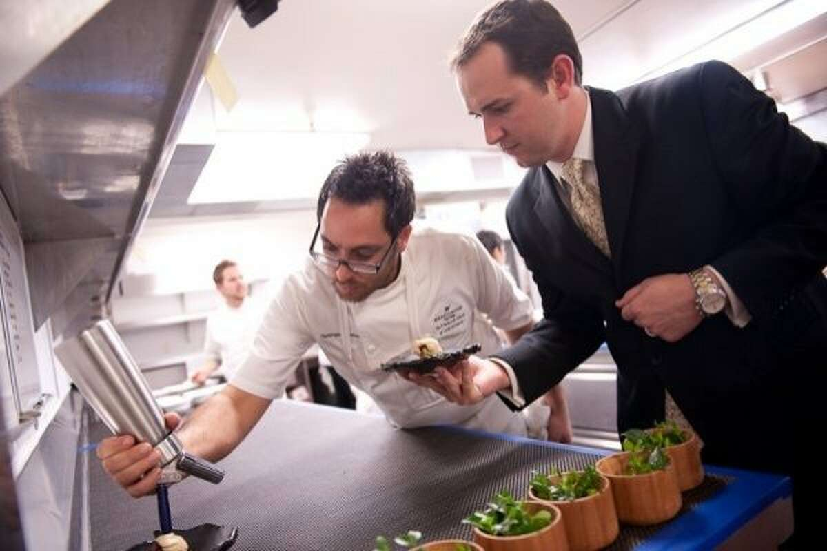 Meadowood chef Christopher Kostow and restaurant director Nathaniel Dorn.