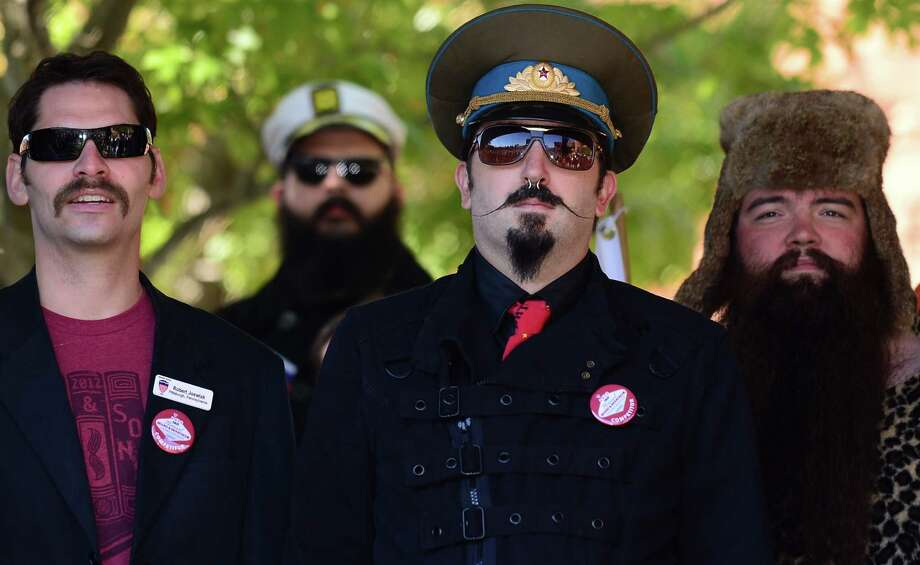 Robert Joswiak (L) and fellow contestants from Pensylvania ahead of competition at the third annual National Beard and Moustache Championships in Las Vegas, Nevada on November 11, 2012. AFP PHOTO / Frederic J. BROWNFREDERIC J. BROWN/AFP/Getty Images Photo: FREDERIC J. BROWN, AFP/Getty Images / AFP