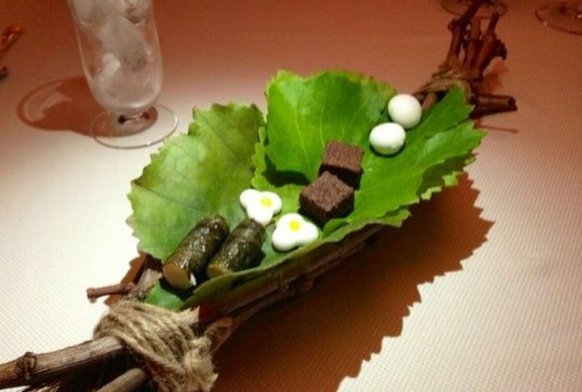 Final course on a November 2012 tasting menu at The Restaurant at Meadowood: Stages of the Grape. On a