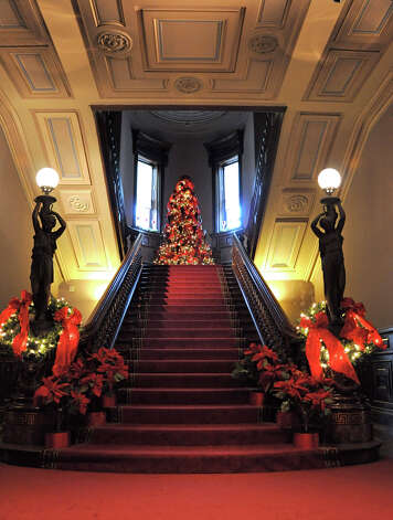 The Grand Staircase at the Lockwood-Mathews Mansion Museum. Photo: Contributed Photo