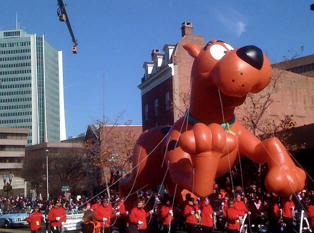 Scooby-Doo has led the UBS Parade Spectacular in downtown Stamford in the past, but will serve as an understudy this year. The annual event steps off at noon Sunday, Nov. 18, 2012. Scooby is 22 feet long, and requires 5,000 cubic feet of helium and 22 handlers. Photo: John Breunig