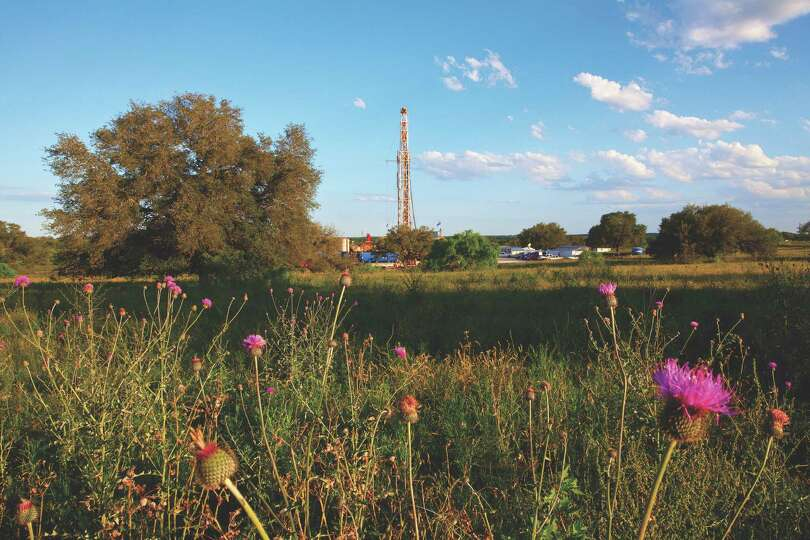 The Patterson-UTI Drilling Company rig can be seen alongside Ranch Road 624 just southeast of Cotull