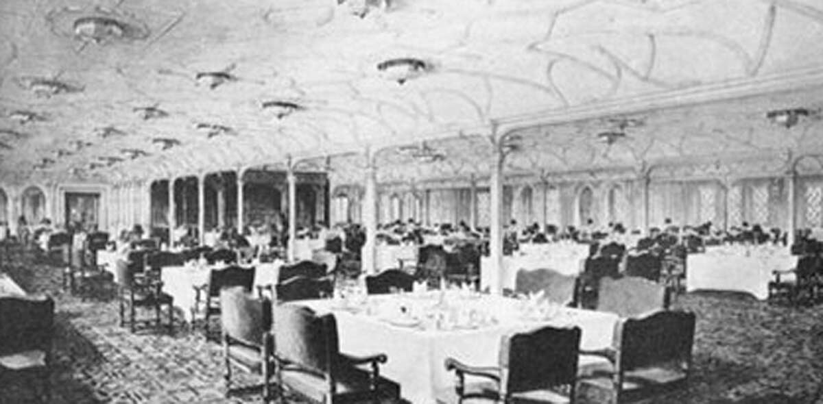 A view of the first-class dining saloon on the doomed ocean liner, Titanic, which sank 100 years ago on April 15, 1912.